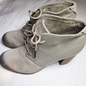 Toms lace up distressed ankle boot Taupe